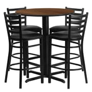 Flash Furniture 30'' Round Walnut Laminate Table Set with X-Base and 4 Ladder Back Metal Bar Stools, Black Vinyl Seat