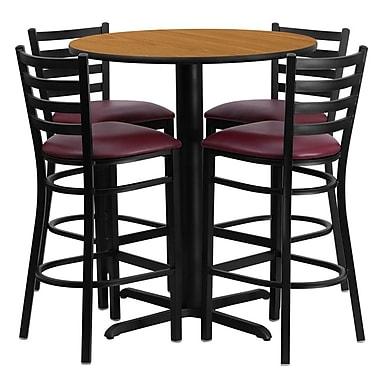 Flash Furniture 30'' X-Base Round Table Set W/4 Ladder Back Metal Bar Stools