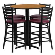 Flash Furniture 30'' Round Natural Laminate Table Set with X-Base and 4 Ladder Back Metal Bar Stools, Burgundy Vinyl Seat