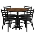 Flash Furniture 36'' Round Walnut Laminate Table Set with X-Base and 4 Ladder Back Metal Chairs, Black Vinyl Seat