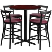 Flash Furniture 24'' Round Mahogany Laminate Table Set with X-Base and 4 Ladder Back Metal Bar Stools, Burgundy Vinyl Seat