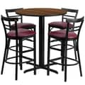 Flash Furniture 24'' Round Walnut Laminate Table Set with X-Base and 4 Ladder Back Metal Bar Stools, Burgundy Vinyl Seat