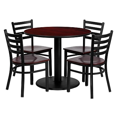Flash Furniture 36'' Round Mahogany Laminate Table Set with Round Base and 4 Ladder Back Metal Chairs, Mahogany Wood Seat