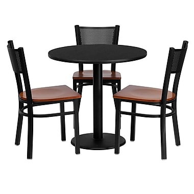 Flash Furniture 30'' Round Black Laminate Table Set with Round Base and 3 Grid Back Metal Chairs, Cherry Wood Seat