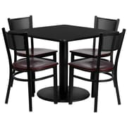 Flash Furniture 36'' Square Black Laminate Table Set with Round Base and 4 Grid Back Metal Chairs, Mahogany Wood Seat