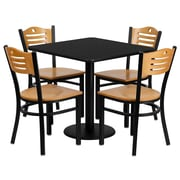 Flash Furniture 30'' Square Black Laminate Table Set with Round Base and 4 Wood Slat Back Metal Chairs, Natural Wood Seat