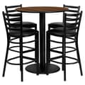Flash Furniture 36'' Round Table Set W/4 Ladder Back Metal Bar Stools, Walnut /Black