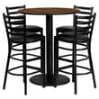 Flash Furniture 36'' Round Walnut Laminate Table Set with Round Base and 4 Ladder Back Metal Bar Stools, Black Vinyl Seat