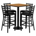 Flash Furniture 30'' Square Natural Laminate Table Set with Round Base and 4 Ladder Back Metal Bar Stools, Black Vinyl Seat