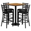 Flash Furniture 30'' Square Natural Laminate Table Set with Round Base and 4 Ladder Back Metal Bar Stools, Black Vinyl Seat