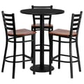 Flash Furniture 30'' Round Black Laminate Table Set with Round Base and 3 Ladder Back Metal Bar Stools, Cherry Wood Seat