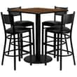 Flash Furniture 36'' Square Walnut Laminate Table Set with Round Base and 4 Grid Back Metal Bar Stools, Black Vinyl Seat