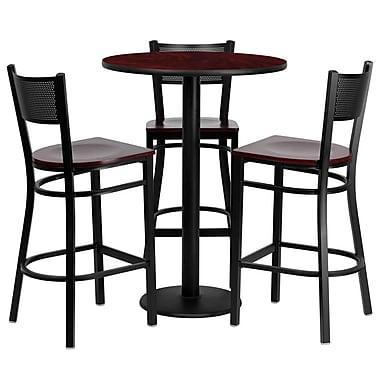 Flash Furniture 30'' Round Mahogany Laminate Table Set with Round Base and 3 Grid Back Metal Bar Stools, Mahogany Wood Seat