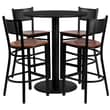 Flash Furniture 36'' Round Black Laminate Table Set with Round Base and 4 Grid Back Metal Bar Stools, Cherry Wood Seat