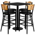 Flash Furniture 30'' Square Table Set W/4 Wood Slat Back Metal Bar Stools, Black