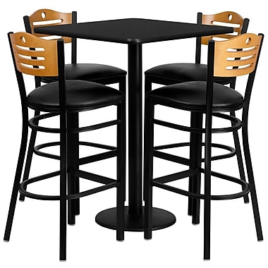 Flash Furniture 30'' Square Black Laminate Table Set with Round Base and 4 Wood Slat Back Metal Bar Stools, Black Vinyl Seat