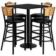 Flash Furniture 30'' Square Black Laminate Table Set with Round Base and 4 Wood Slat Back Metal Bar Stools, Black Vinyl Seat