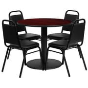 Flash Furniture 36'' Round Table Set W/4 Black Trapezoidal Back Banquet Chairs