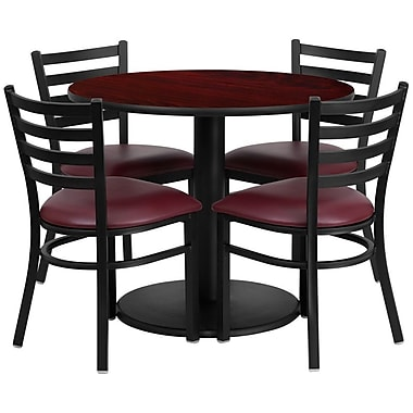 Flash Furniture 36'' Round Mahogany Laminate Table Set with Round Base and 4 Ladder Back Metal Chairs, Burgundy Vinyl Seat