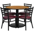 Flash Furniture 36'' Round Natural Laminate Table Set W/4 Ladder Back Chairs Burgundy Vinyl Seat