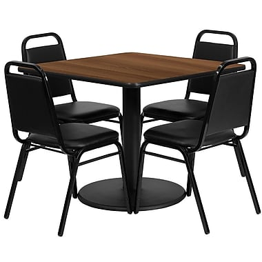Flash Furniture 36'' Square Walnut Laminate Table Set with Round Base and 4 Black Trapezoidal Back Banquet Chairs