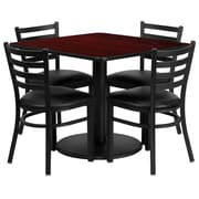 Flash Furniture 36'' Square Mahogany Laminate Table Set with Round Base and 4 Ladder Back Metal Chairs, Black Vinyl Seat
