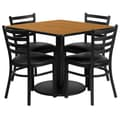 Flash Furniture 36'' Square Natural Laminate Table Set W/4 Ladder Back Black Vinyl Seat Chairs
