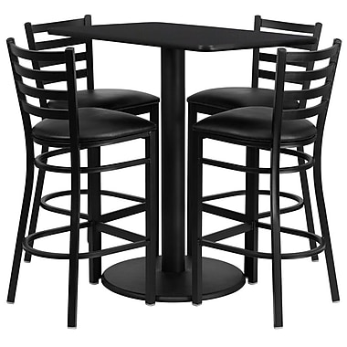 Flash Furniture 24''W x 42''L Rectangle Black Laminate Rd Base Table Set with 4 Ladder Back Metal Bar Stools, Black Vinyl Seat