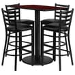 Flash Furniture 24'' x 42'' Rectangular Table Set W/4 Ladder Back Metal Bar Stools, Mahogany/Black