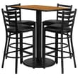 Flash Furniture 24''W x 42''L Rectangle Natural Laminate Rd Base Table Set with 4 Ladder Back Metal Bar Stools, Black Vinyl Seat