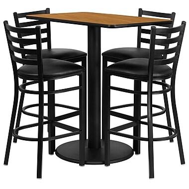 Flash Furniture 24''W x 42''L Rectangle Natural Laminate Rd Base Table Set with 4 Ladder Back Metal Bar Stools, Black Vinyl Seat