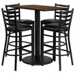 Flash Furniture 24''W x 42''L Rectangle Walnut Laminate Rd Base Table Set with 4 Ladder Back Metal Bar Stools, Black Vinyl Seat