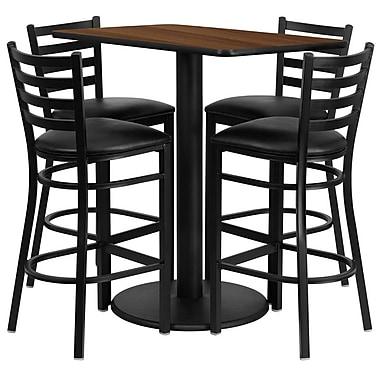 Flash Furniture 24''W x 42''L Rectangle Walnut Laminate Rd Base Table Set with 4 Ladder Back Metal Bar Stools, Black Vinyl Seat