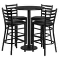 Flash Furniture 30'' Round Table Set W/4 Ladder Back Metal Bar Stools