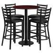 Flash Furniture 30'' Round Mahogany Laminate Table Set with Round Base and 4 Ladder Back Metal Bar Stools, Black Vinyl Seat