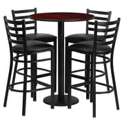 Flash Furniture 30'' Round Mahogany Laminate Table Set with Round Base and 4 Ladder Back Metal Bar Stools, Black Vinyl Seat