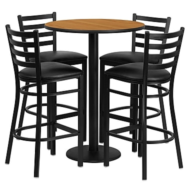Flash Furniture 30'' Round Natural Laminate Table Set with Round Base and 4 Ladder Back Metal Bar Stools, Black Vinyl Seat
