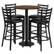 Flash Furniture 30'' Round Table Set W/4 Ladder Back Metal Bar Stools, Walnut/Black