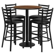 Flash Furniture 30'' Round Walnut Laminate Table Set with Round Base and 4 Ladder Back Metal Bar Stools, Black Vinyl Seat