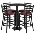 Flash Furniture 30'' Round Table Set W/4 Ladder Back Metal Bar Stools, Black/Burgundy