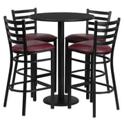 Flash Furniture 30'' Round Black Laminate Table Set with Round Base and 4 Ladder Back Metal Bar Stools, Burgundy Vinyl Seat