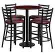 Flash Furniture 30'' Round Mahogany Laminate Table Set with Round Base and 4 Ladder Back Metal Bar Stools, Burgundy Vinyl Seat