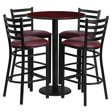 Flash Furniture 42.25'' Modern Foot Ring/Bar Vinyl Bar Stool, Burgundy (RSRB1026)