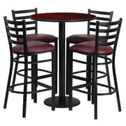 Flash Furniture 30'' Round Mahogany Laminate Table Set with Round Base and 4 Ladder Back Metal Bar Stools, Burgundy Vinyl Seat