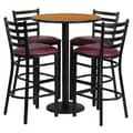 Flash Furniture 30'' Round Natural Laminate Table Set with Round Base and 4 Ladder Back Metal Bar Stools, Burgundy Vinyl Seat