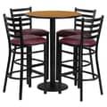 Flash Furniture 30'' Round Natural Laminate Table Set with Round Base and 4 Ladder Back Metal Bar Stools, Burgundy Vinyl Seat