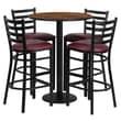 Flash Furniture 30'' Round Walnut Laminate Table Set with Round Base and 4 Ladder Back Metal Bar Stools, Burgundy Vinyl Seat