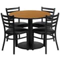 Flash Furniture 36'' Round Natural Laminate Table Set W/4 Ladder Back Black Vinyl Seat Chairs