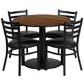 Flash Furniture 36'' Round Walnut Laminate Table Set W/4 Ladder Back Black Vinyl Seat Chairs