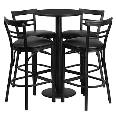 Flash Furniture 24'' Round Black Laminate Table Set with Round Base and 4 Ladder Back Metal Bar Stools, Black Vinyl Seat